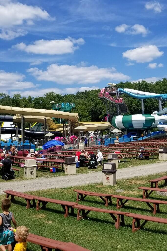 water slides and tons of picnic tables at the land of make believe