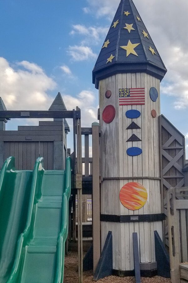 the rocket ship station at imagination station playgrounfd in horsehoe lake park