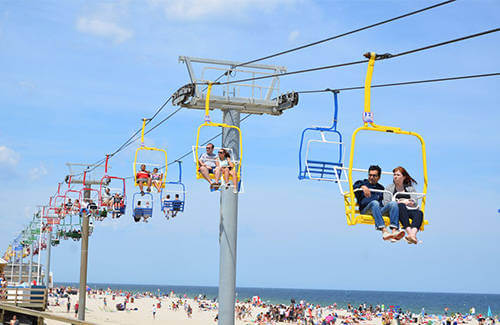 image of visitors on the sky ride on the seaside heights boardwalk