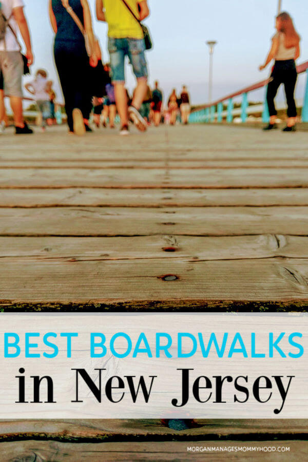 a close up of the boards of an NJ boardwalk and feet with the words best bordwalks in nj on the image