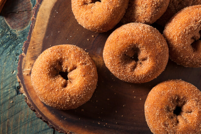 cinnamon covered apple cider donuts to enjoy in fall in NJ